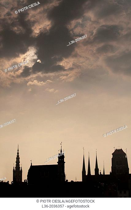 Poland, Gdansk-The skyline of the Old Town