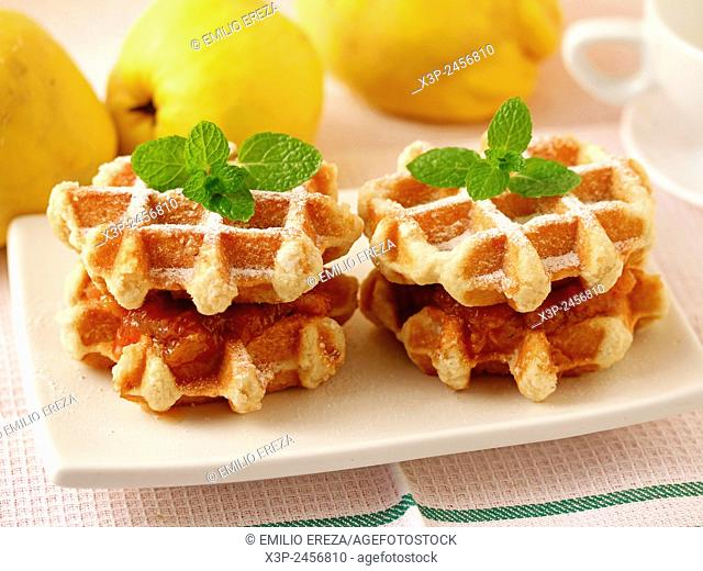 Waffles with quince jam