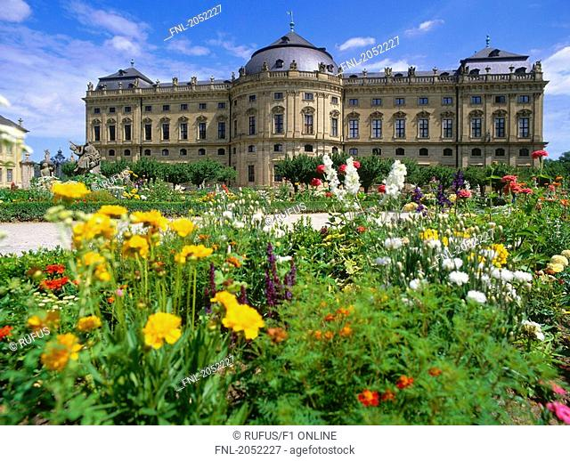 Garden in front of palace, Wurzburg, Bavaria, Germany