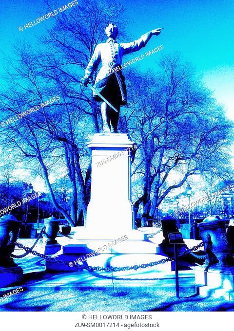 Statue of King Karl XII by Johan Peter Molin, Kungstradgarden Park (Kings Garden), Norrmalm, Stockholm, Sweden, Scandinavia