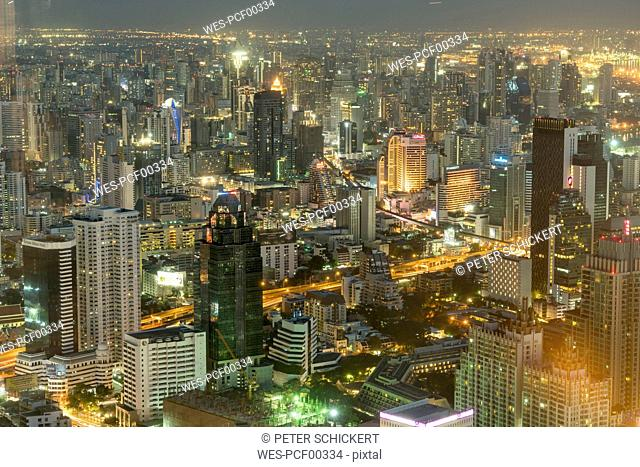 Thailand, Bangkok, cityscape by night seen from above