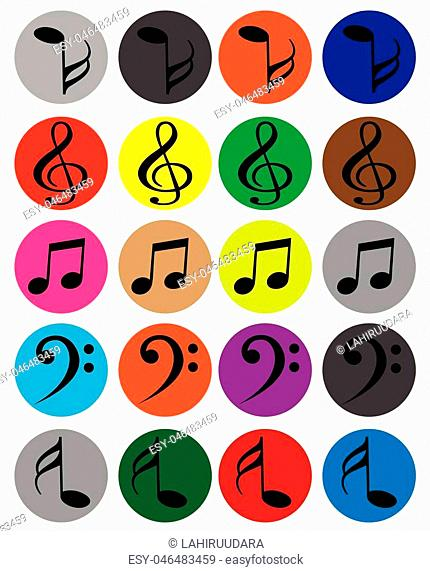 Different types of Music note Icions