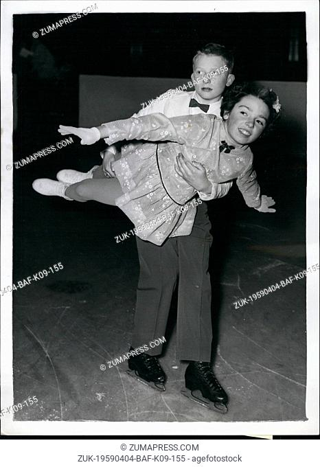 Apr. 04, 1959 - Open Junior Skating Competition at Wembley: Some 250 youngsters from all parts of the Free Skating Competition which opened this morning at...