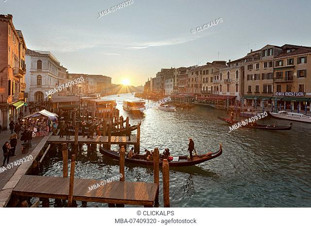 Sunset on Canal Grande from Rialto Bridge, Venice, Veneto, Italy