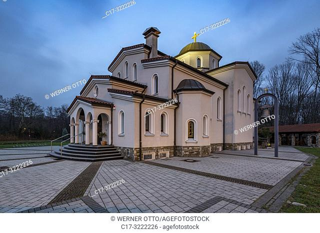 Herten, D-Herten, Ruhr area, Westphalia, North Rhine-Westphalia, NRW, church Heiliger Dimitrios, Greek Orthodox church, evening *** Local Caption ***