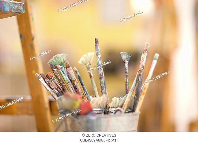 Paintbrushes in pot