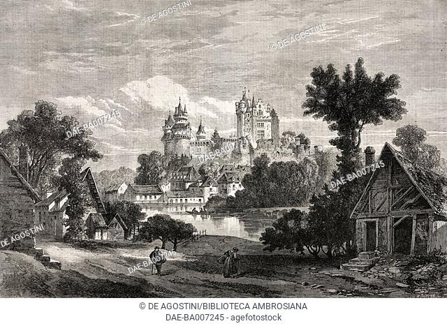Pierrefonds Castle, Picardy, France, illustration from the magazine The Illustrated London News, volume XLIII, November 21, 1863