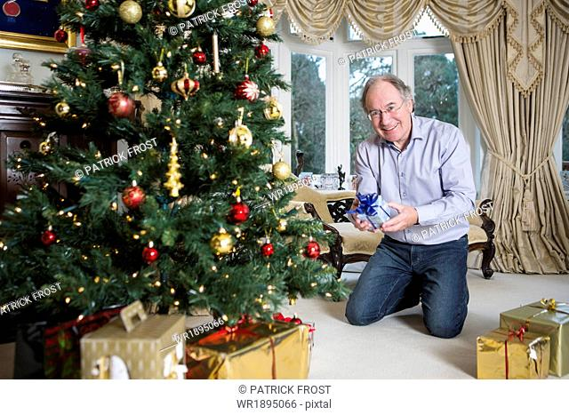 Senior man holding gift parcel by Christmas tree