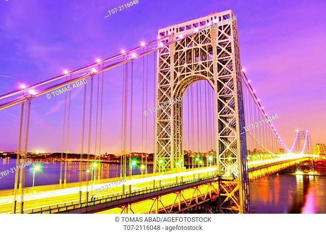 GW Bridge or GW, George Washington Bridge, View from New Jersey, is a double-decked suspension bridge spanning the Hudson River