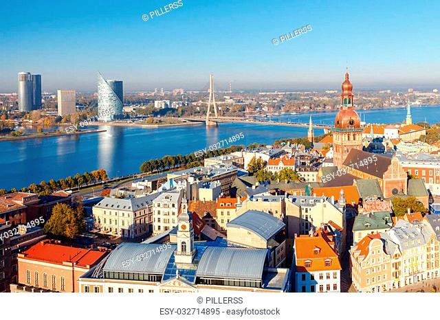 View of the town and the Daugava River from the height of the observation platform of the church of St. Peter