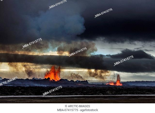 Volcano Eruption at the Holuhraun Fissure near Bardarbunga Volcano, Iceland August 29, 2014 a fissure eruption started in Holuhraun at the northern end of a...