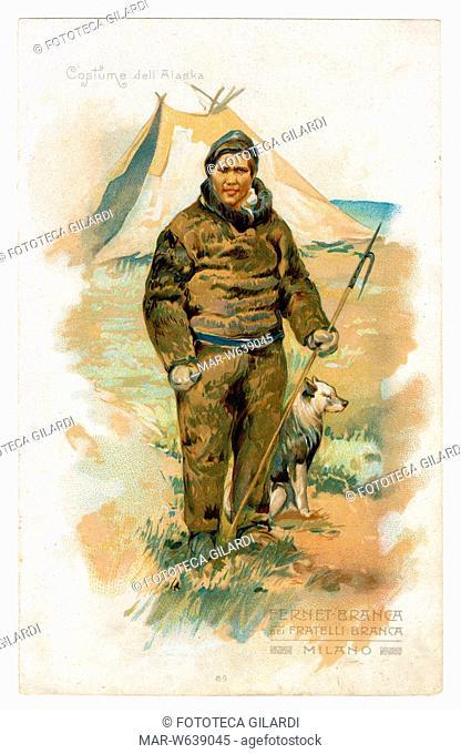 ANTROPOLOGIA 'Costume dell'Alaska'. Cacciatore vestito di pelliccia, raffigurato davanti alla tenda con il suo cane e la fiocina in mano