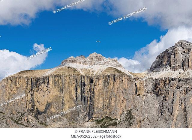 Sella group, Sellapass, Val Lasties, Val di Fassa, the Dolomites, Sella, Fassa Valley, Trentino, Italy, scenery, aerial picture