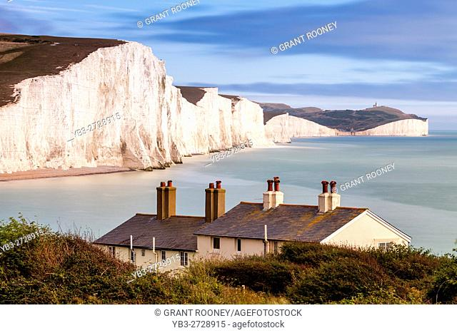 The Seven Sisters and Coastguard Cottages, Seaford, East Sussex, UK