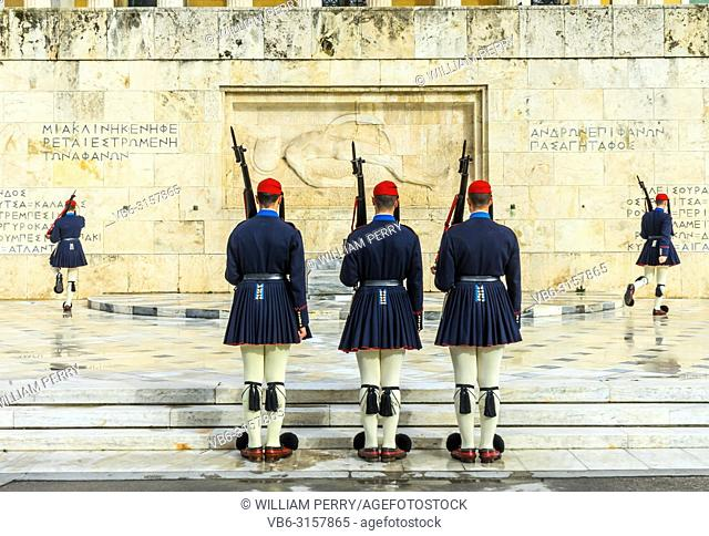 Changing the Guard Tomb of Unknown Soldiers Syntagma Square in front of Parliament Athens Greece. Soldiers are Evzones of the Presidential Guard