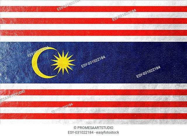 Flag of Kuala Lumpur, painted on leather texture