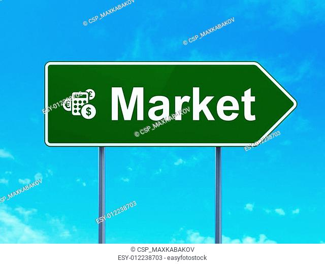 Finance concept: Market and Calculator on road sign background