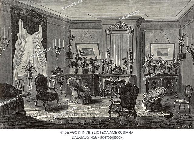 The salon on the ground floor of Villa Monaco, meeting between the King of Spain Alfonso XII and Archduchess Maria Christina of Habsburg-Teschen in Arcachon
