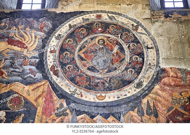 "Pictures & images of the interior fresco depicting 13th-century depiction of the """"Beast of the Apocalypse"""" and figures of the Zodiac"