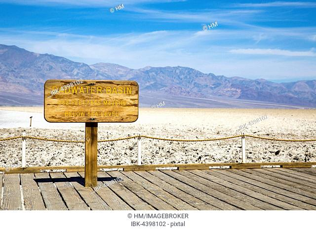 Lowest point in North America, Badwater Basin sign, Death Valley National Park, California, USA