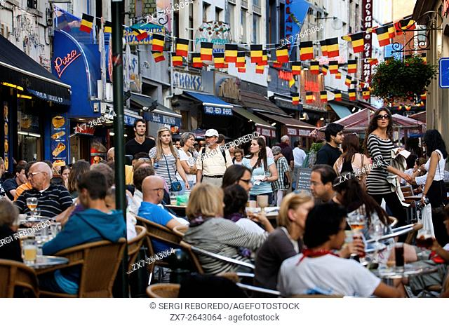 Several restaurants at Rue du Marche aux Fromages, Brussels, Belgium. In the center of Brussels abound terraces and restaurants offering cuisine from different...