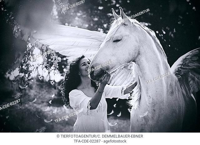 woman and Pegasus