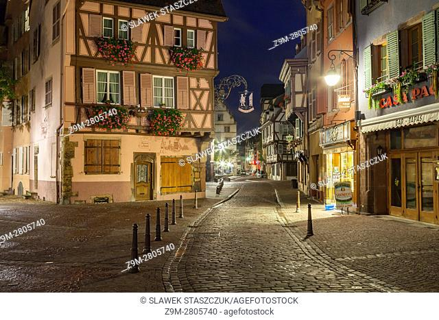 Night in Colmar old town, Alsace, France