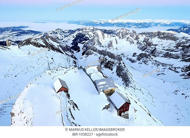 Snowbound mountain restaurants on Mt Saentis, Canton of Appenzell Innerrhoden, Switzerland, Europe