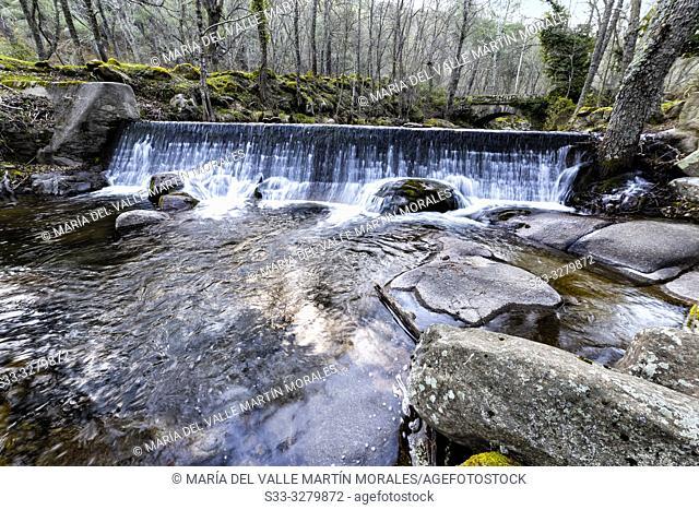 Small dam at river Iruelas. Sierra de Gredos. Avila. Spain. Europe