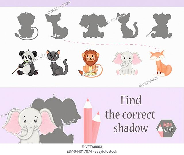 Find the correct shadow, education game for children. Cute Cartoon animals Nature. vector illustration. cat, gift, lion, elephant, fox