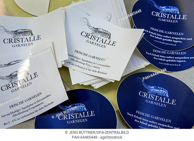 Labels for the packaging of Pacific shrimps seen at the 'Cristalle Garnelen' shrimp farm in Grevesmuehlen, Germany, 10 December 2015