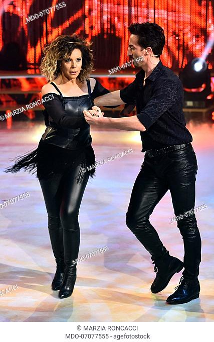 The Italian journalist marzia Roncacci with her dance master Samuel Peron during the fourth episode of the show Ballando Con Le Stelle auditorium Rai Foro...