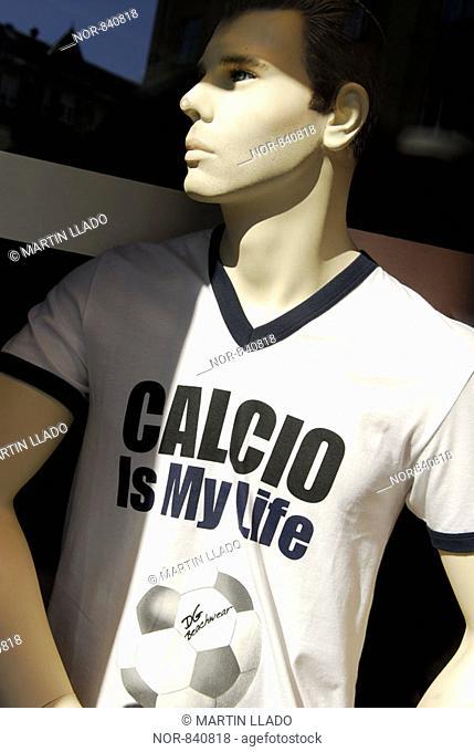 Mannequin wearing a football T-shirt, Copenhagen, Denmark