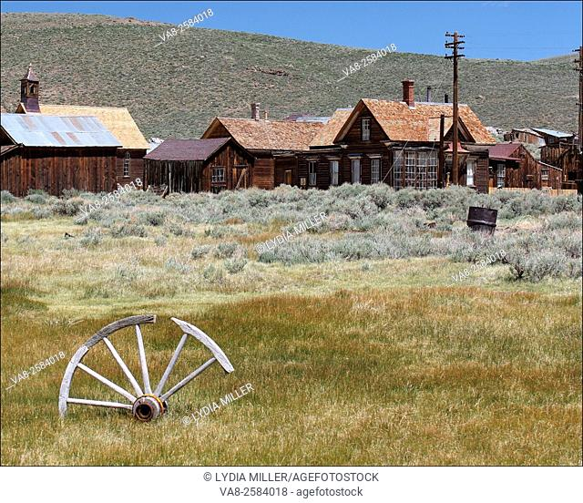 An old wooden wheel in Bodie, CA