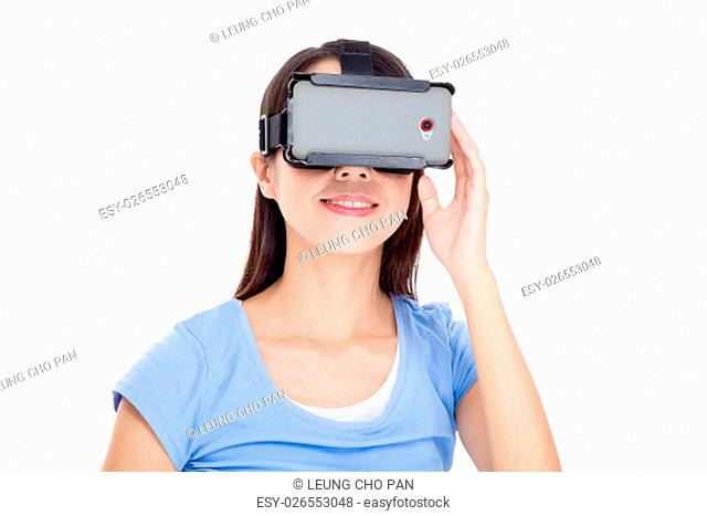 Asian Woman watching with virtual reality device