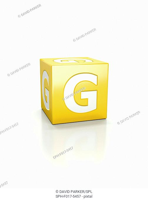 Yellow cube with letter G