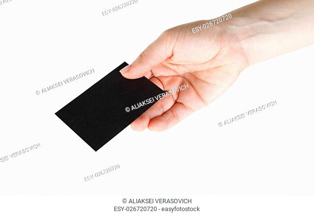 Blank black business card in hand. Isolated on white with clipping path
