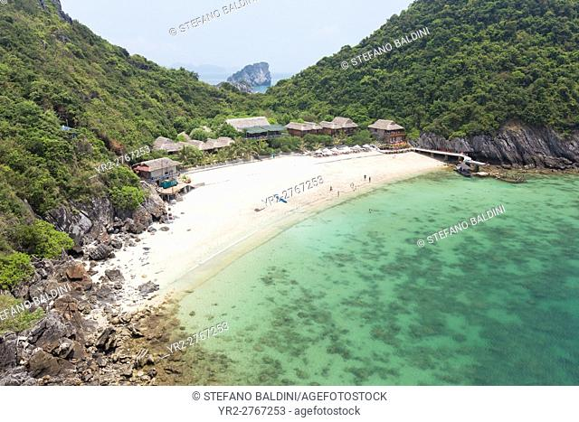Monkey island resort on this small beach on monkey island, Cat Ba National Park, Lan Ha Bay,Halong Bay, Vietnam