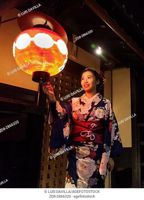 woman with traditional dress (Yukata) in Gion area