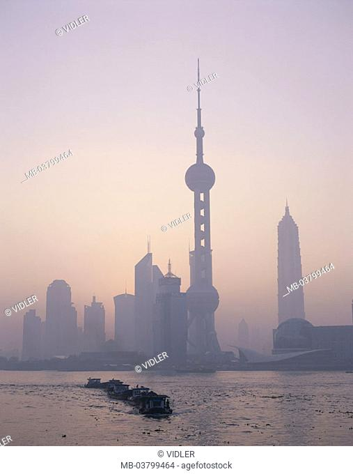 China, Shanghai, 'association', skyline, Oriental Pearl tower, Huangpu River, Fisher boats, morning mood, fogs Asia, Eastern Asia, city, view at the city
