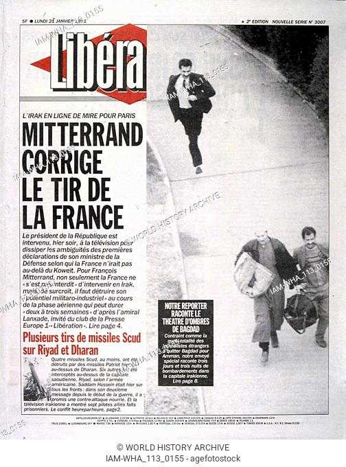 Headline in 'Liberation' a French newspaper, 21st January 1991, concerning French involvement in the Gulf War (2 August 1990 - 28 February 1991)
