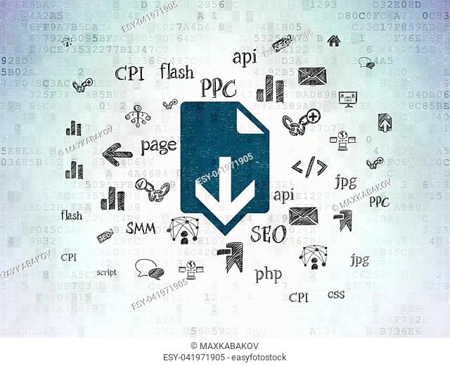 Web development concept: Painted blue Download icon on Digital Data Paper background with Hand Drawn Site Development Icons