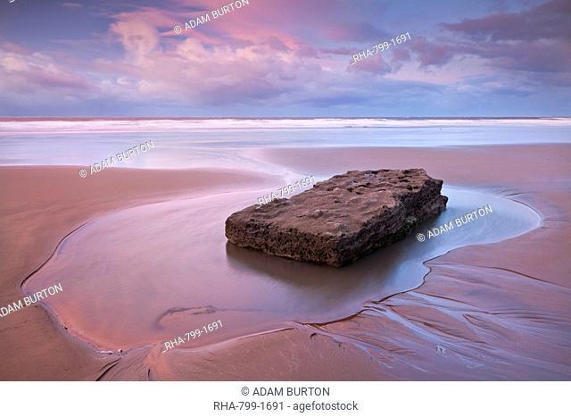 Pristine sandy beach at dawn, Southerndown, Glamorgan Heritage Coast, Wales, United Kingdom, Europe