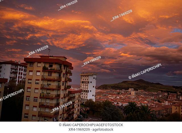 Sunset lights, Zarautz, Gipuzkoa, Basque Country, Spain