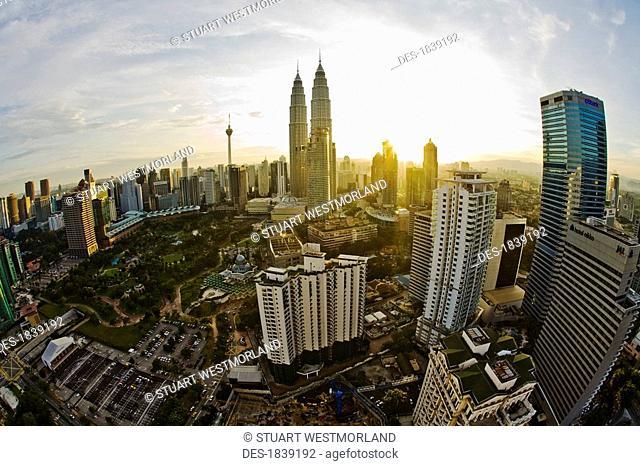 Aerial view of Kuala Lumpur at dawn, Sabah, Malaysian Borneo, Malaysia