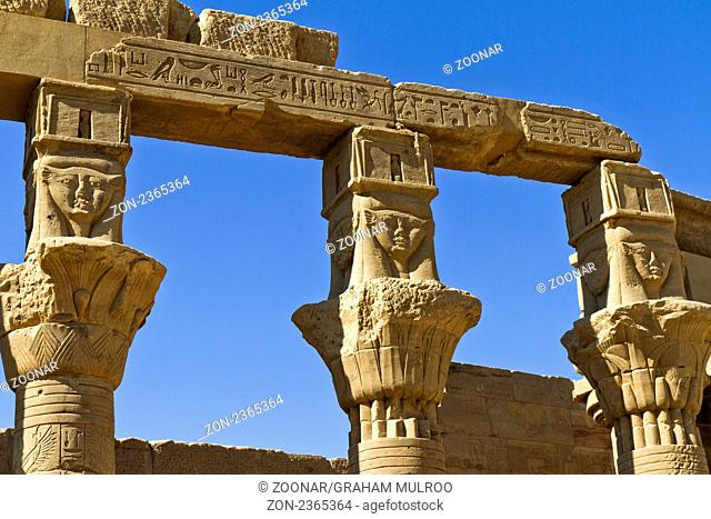 Egypt Aswan Temple Of Isis West Colonnade