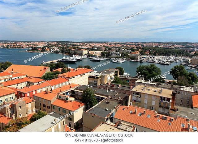 View of Zadar from the bell tower of St  Anastasia cathedral, Croatia