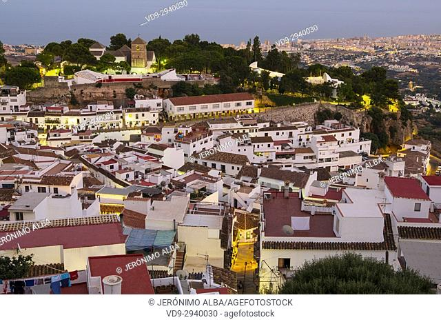 Cityscape. White village of Mijas Pueblo at dusk. Malaga province Costa del Sol. Andalusia southern, Spain Europe