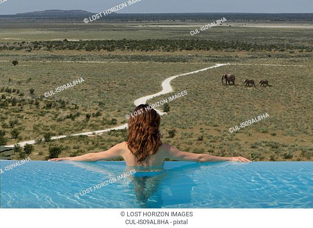 Woman watching elephants from infinity pool at Dolomite camp, Etosha National Park, Namibia