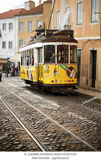Yellow Tram in Lisbon, Portugal, Europe